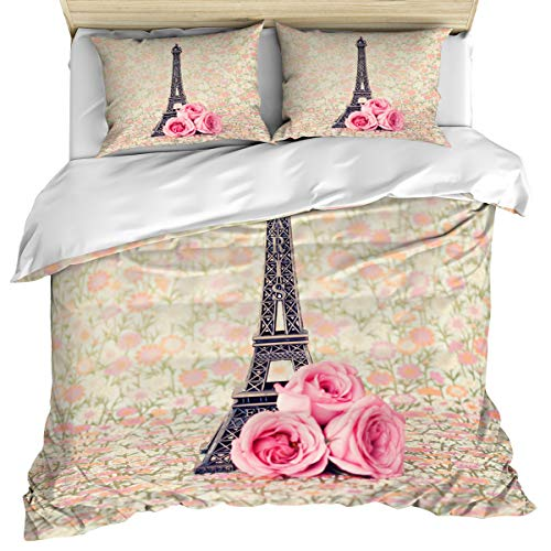 Paris 3 Piece Bedding Set Comforter Cover Full Size, Paris Eiffel Tower and Flowers Retro Soft Color Print, 3 pcs Duvet Cover Set Bedspread Daybed with Zipper Closure for Childrens/Kids/Teens/Adults