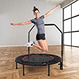 40' Mini Trampoline for Kids Adults Indoor Small Trampoline Rebounder with Adjustable Foam Handle,Exercise Fitness Trampoline (Red)