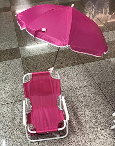 NoNo Klappbarer Strandkorb für Kinder, Klappstuhl für Strandcampingkonzert im Freien mit tragbarem Sonnenschirm mit Sonnenschirm (Rose Red)