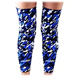COOLOMG (Pair Basketball Knee Pads for Kids Youth Adult Long Leg Knee Sleeves Protector Gear EVA Digital Camo Blue Navy Small
