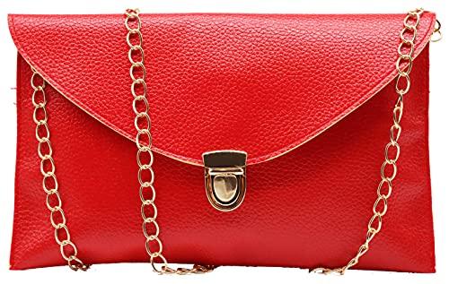 Amaze Fashion Women Handbag Shoulder Bags Envelope Clutch Crossbody Satchel Tote Purse Leather Lady Bag (Red)