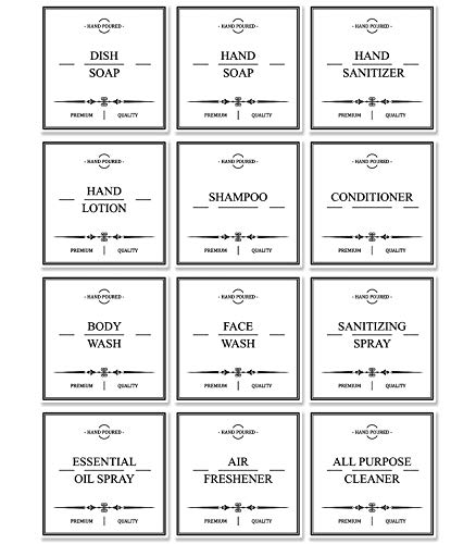 White Waterproof Soap Labels for Glass/Plastic Bottles, Farmhouse Labels Stickers for Bathroom/Kitchen Soap Dispenser, Removable Cleaning Labels for Homemade Hand/Dish Soap, Shampoo and Conditioner