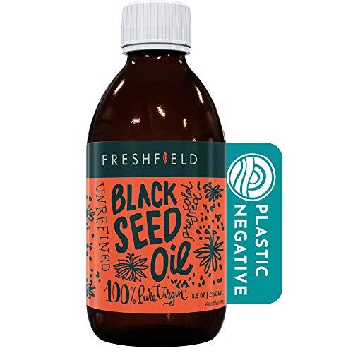 Freshfield Black Seed Oil: Up to 3X The Thymoquinone, Premium (Black Cumin Seed Oil, Nigella Sativa) | Cold Pressed | Vegan | Ultra Strength | Pure and 100% Natural. 8.5 oz Liquid in Glass Bottle
