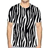 T-Shirt en Coton pour hommesT-Shirt à col Rond imprimé Animal sans Couture zèbre Tige L