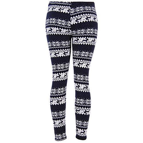 Womens Pamaja Pants Christmas Warm Leggings Snowflake Reindeer Print High Waist Long Pants (Black White, XL)