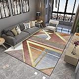 WZZSKE Alfombra de Design Moderno de Pelo Corto Alfombra Lavable Antideslizante Súper Suave para salón Dormitorio Comedor etc Racimos geométricos Gris marrón Dorado Alfombra Tamaño: 60 x 90 cm