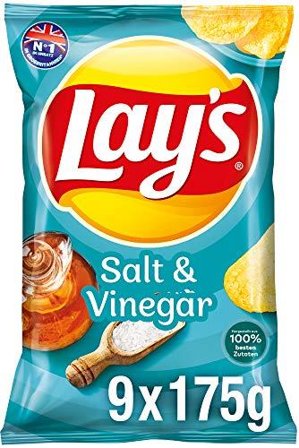 Lay's Salt & Vinegar NEU – Knusprig gewürzte Kartoffelchips für eine gelungene Party – 9 x 175g