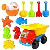 Juguetes de playa para niños pequeños Moldes de camión de material blando con carrito de cuatro ruedas Regadera Herramientas de pala de arena y 5 juguetes de animales, colores surtidos (11 piezas)