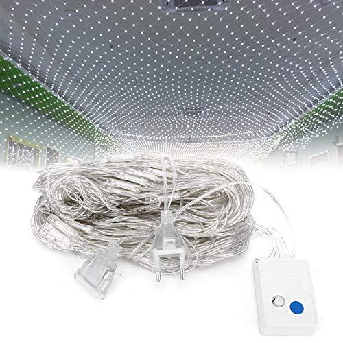 Jingyig Net Light LED, decoración de Fiesta Duradera, luz de Malla de bajo Consumo de energía, para Interior Azul, Colorido, Blanco 6.6 pies x 6.6 pies al Aire Libre(White)