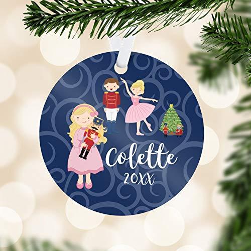 Alicert5II Notenkraker ornament blauw wervelt notenkraker ballerina vakantie decoratie kinderen notenkraker gepersonaliseerde kerstbal kind naamgeschenk