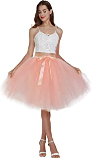 Women's High Waist Pleated Princess A Line Midi/Knee Length Tutu Tulle Skirt for Prom Party