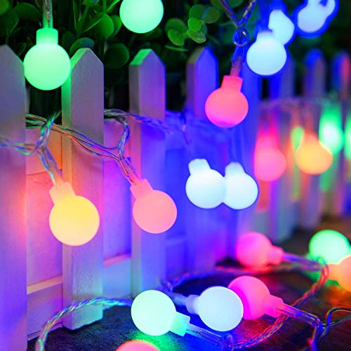 Ollny Globe String Lights 100 LED 33ft for Indoor Bedroom Wedding Party Outdoor Christmas Garden Decorations Bulb Fairy String Lights with Remote Plug in Multi Color