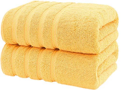 CASA COPENHAGEN Bella Egipcio algodón 600g/m², Toallas de baños (Amarillo Irlandés) 2 Piezas