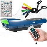 skandika 4D Vibrationsplatte V3000 | Vibration Plate im Curved Design mit Smart LED Technologie, Trainingsvideo, Bluetooth-Lautsprecher und Trainingsbändern | Fitnessgerät für Zuhause | Marineblau