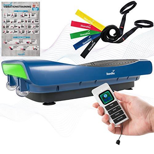 skandika 4D Vibrationsplatte V3000   Vibration Plate im Curved Design mit Smart LED Technologie, Trainingsvideo, Bluetooth-Lautsprecher und Trainingsbändern   Fitnessgerät für Zuhause   Marineblau