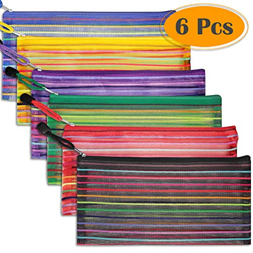 Selizo 6 Pcs Pencil Pouch Plastic Pencil Cases Zipper Mesh Pouch Bag for Office Pen Cosmetic Makeup