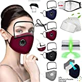 4 Pack Reusable Face_Mask with Eyes Shield, Adjustable Facemasks with Breathing Valve,Washable Face_Masks with 8 Filters,Breathable Cotton Facemask for Adults,Outdoor Indoor Sports Party