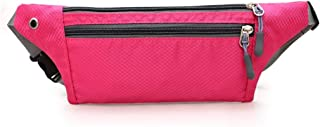 Men's and Women's Sports Leisure Waist Pack, Multifunction Outdoor Sport Waist Pack Waterproof Fabric Breathable, with Headphone Jack for Cycling Sport Travel, Mountain Climbing (Color : Pink)