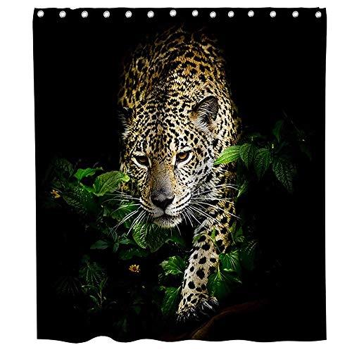 LRSJD Geparden-Duschvorhang, 3D-Leoparden-Druck, Safari-Thema, Stoff, Badezimmer-Dekor-Set mit Haken, wasserdicht, waschbar, 183 x 183 cm, Grün, Gelb und Schwarz