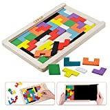 Wood Russian Puzzle with Organize Case for Kids Games Brain Teasers Toy Tangram Colorful Jigsaw Game Educational Intelligence Toys with Drawing Writing Board Chalkboard for 3 Year Old Up