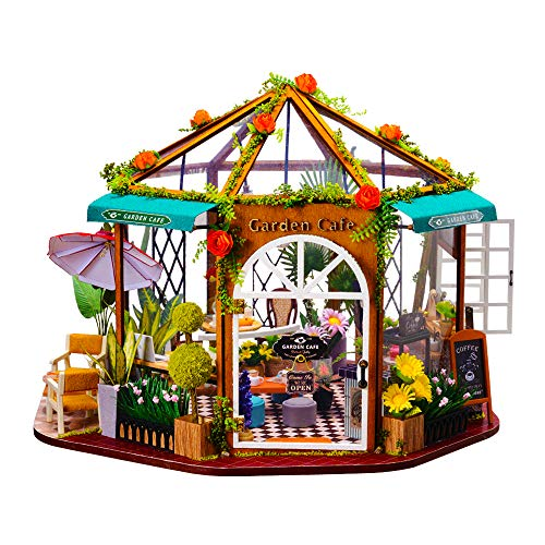 DIY Dollhouse Mini Kit Coffee Shop Green Mini House For Adults 1:24 Scale Houses Garden Cafe With Green Plants Dollhouse Miniature Kit DIY Doll House Kit Miniature House DIY Kit House Building Kit