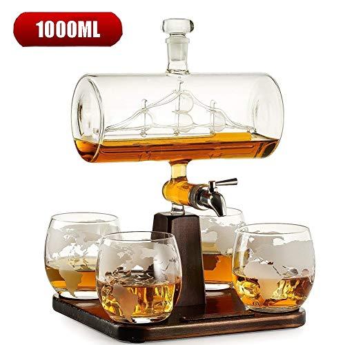 1000ml Whisky Karaf met Antiek Schip Wijnschip Karaf Set voor Drank, Scotch, Bourbon, Wodka met 4 Globe Glasses Drankdispenser