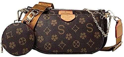 Zyyszma Conjuntos 3 en 1, bolso bandolera para mujer, nuevo clásico, estampado, bandolera, bolsos de mensajero, bolsos y monedero con cadena de lujo para mujer