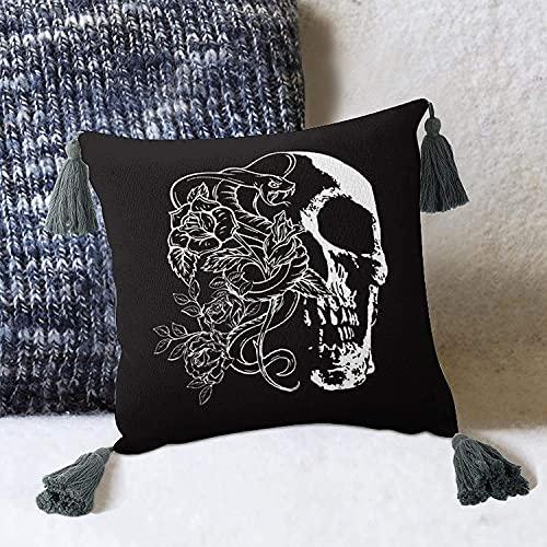 Retro Horror Floral Skull Head and Snake Funda de cojín de Estilo Medieval Vintage para sofá Cama-Estilo blanco2 10 'x 10' Funda de Almohada con borlas Fundas de Almohada