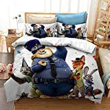 Aatensou Crazy Animal City - Juego de ropa de cama (microfibra, 3 piezas, A5,140 x 200 cm, 80 x 80 cm)
