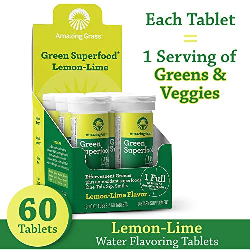 Amazing Grass Effervescent Tablets: Green Superfood Water Flavoring Tablet with Antioxidants & Alkalizing Greens, Lemon Lime, 10 Count (Pack of 6), Effervescent Lemon Lime']