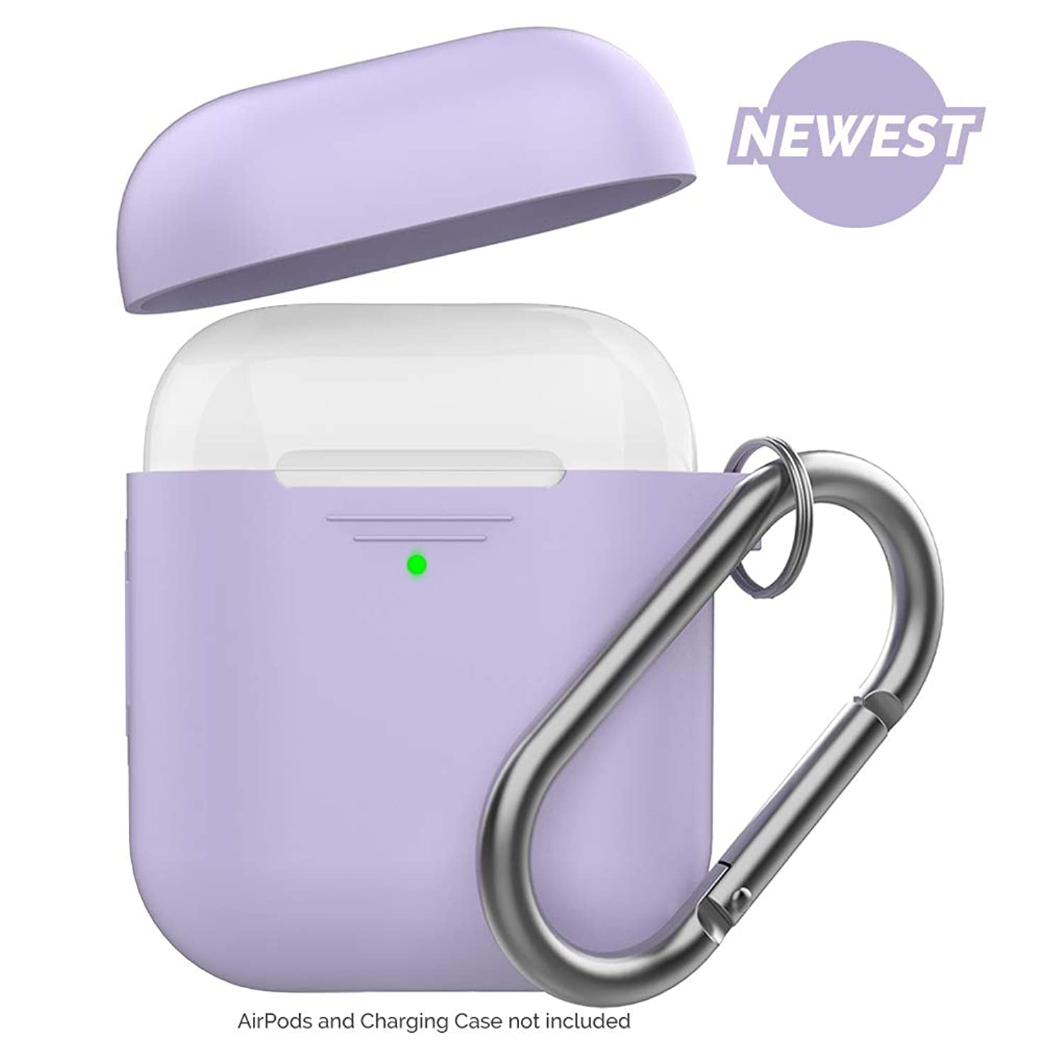 AhaStyle Newest AirPods Case Cover [Front LED Visible] Silicone Compatible with Apple AirPods 2 & 1(with Carabiner, Lavender)