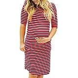 Elecenty Damen Umstandskleidung Sommerkleid,Frauen Streifen Kleid Umstandskleid Taschen Schwangerschaftskleid Rundhals Umstandsmode Kurzarm Umstandskleid Bodycon Knielang Kleidung (L, Rot)