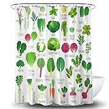 BECAN Duschvorhang für Gemüse, verschiedene Arten von Gemüse & kulinarischen Kräutern, Polyestergewebe, wasserdichte Schicht verdickt, 183 x 183 cm, Rosa