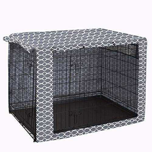 Cubierta para jaula de alambre, resistente de nailon, resistente al agua, resistente al viento, cubierta para perrera para mascotas, protección interior y exterior, color gris