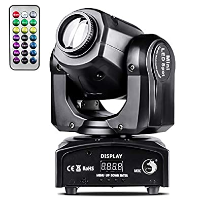 U`King 50W LED Moving Head Light with Remote 8 Gobo 8 Pattern Spotlight by DMX Controlled 9/11 Channel for Disco Club Party Stage Lighting Shows