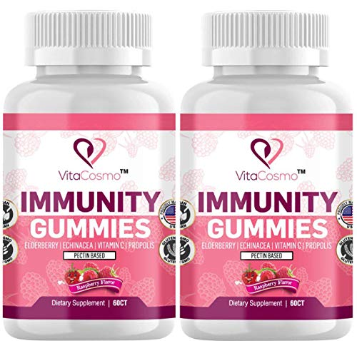 Immunity Gummies 4-in-1 Advanced Immune Defense, with Elderberry, Echinacea, Vitamin C and Propolis, for Kids & Adults, Vegan and Non-GMO, Gelatin-Free, Raspberry Flavor (2)