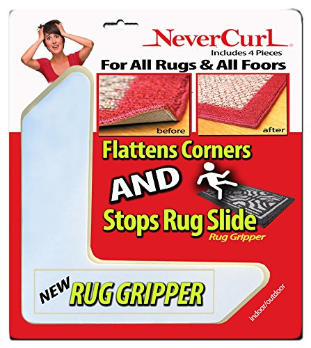 """Grips The Rug with Nevercurl Includes 4""""V"""" Shape Corners with EVA Foam Tip for Easy Rug Lifting - Patented - Instantly Flattens Rug Corners and Stops Rug Slipping - Gripper uses Renewable Sticky Gel"""