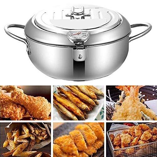 CJFHBVUQ Tempura Fritteuse, Pommes-Frites-Topf, Fritteuse mit Thermometer und Deckel Tempura Friteuse Topf zum Kochen 20cm
