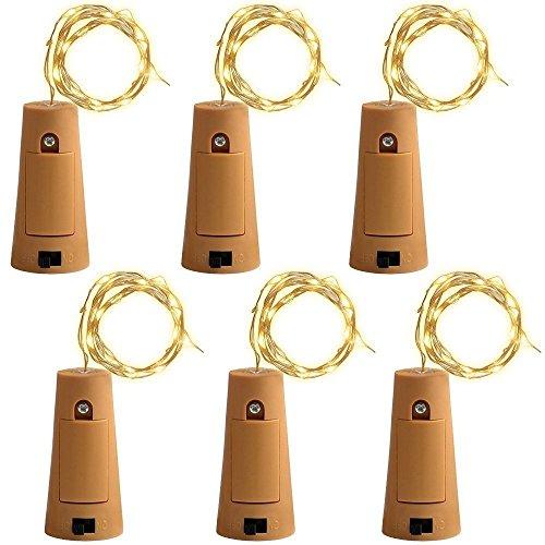 6 PCS 75cm Corcho Micro Luces LED para Botella de Vino,GZQES,Luz de la Secuencia del Alambre de Cobre del Corcho,Lámpara DIY Boda Regalo o Noche Luces,Luz Botella de Vino Tapón,Color Blanco Cálido