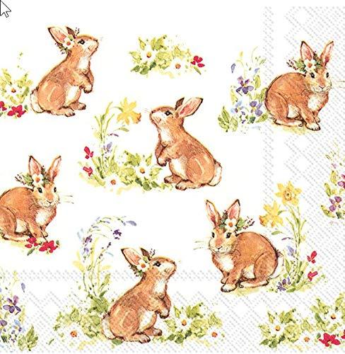20 Servietten Entzückende Hasen mit Blumen als Tischdeko zu Ostern 33x33cm