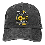 gymini Teach Love and Inspire Teacher Suower Gorras de béisbol lavables de algodón para hombre y mujer