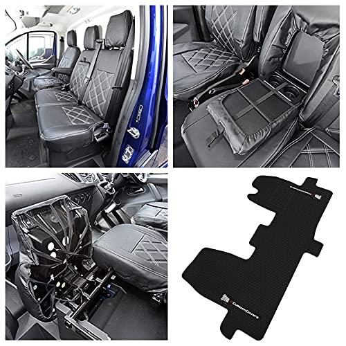 UK Custom Covers RM522-SC237B - Fundas de asiento delantero de piel sintética a medida (individual/doble) y alfombrillas de goma, color negro