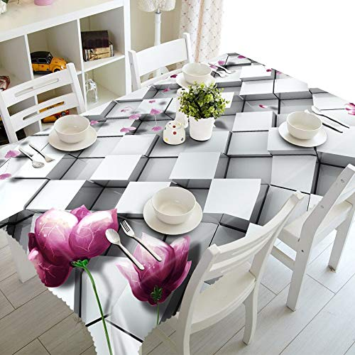XXDD Mantel de Flores Blancas a Rayas 3D, rectángulo Impermeable de Rosas a Cuadros de Moda para Mantel de Mesa de Cocina A4 150x210cm