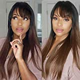 Derun Ombre Long Straight Wig with Bangs Human Hair 13x4 Lace Front Wigs Pre Plucked with Baby Hair 1B/4 Remy Hair for Black Women (16Inch, 13×4,1b/4)
