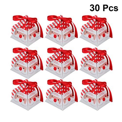 Cabilock 30 Cajas de Regalo Navidad con Cinta y Etiquetas, Cajas Papel Caramelo Juego Decorativa Cajas de Dulces,...
