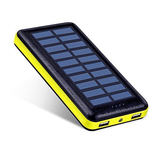 Antun 22400mAh 2porte USB caricatore Power Bank–Batteria esterna solare caricabatteria per iPhone 6/6Plus, iPad Air 2/mini 3, Galaxy S6/S6Edge GPS e Fotocamera GoPro e più