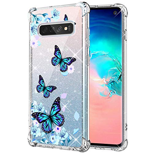 KIOMY Clear Glitter Case for Samsung Galaxy S10, Girls Women Bling Sparkle Shiny Luxury Cases with Flowers Butterfly Design Shockproof Bumper Protective Cell Phone Back Cover Slim Fit Flexible Shining
