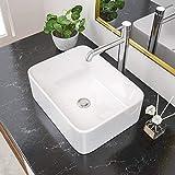 Rectangular Vessel Sink 16 Inch - Beslend 16''x12'' Rectangle Mini Bathroom Sink Above Counter White Porcelain Ceramic Countertop Lavatory Vanity Sink Small Sink Bowl