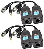 AAOTOKK Video Balun RJ45 a BNC Transceptor Transmisor HD-CVI/TVI/AHD/CVBS con Conector de Alimentación para 1080P 3MP 4MP 5MP 8MP CCTV Seguridad DVR Sistema de Cámara vigilancia (2 Pares-19CM)