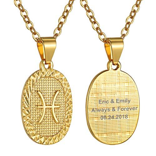 Medalla ovalada dorada de Piscis